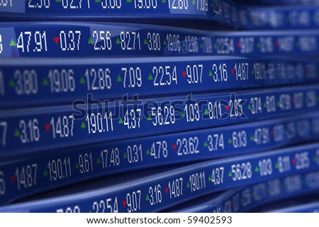 Computer generated stock trading ticker - stock photo