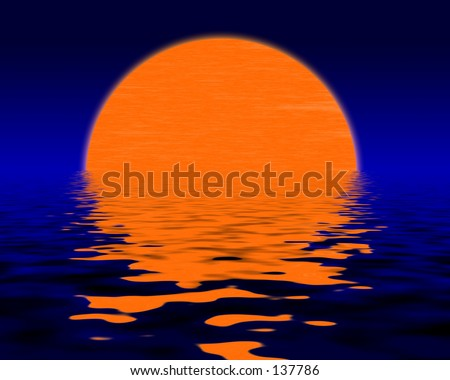Computer Generated Sunset - stock photo