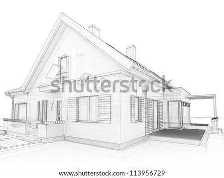 computer generated, transparent house design visualization in drawing style - stock photo