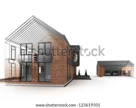 computer generated visualization of classic, brick residential house. Project during work, with visible wire frame of construction lines. - stock photo