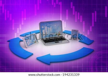 Computer generation in arrow circle - stock photo