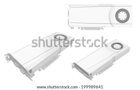 Computer graphic card GPU GTX white on white background 3d render.Easy editable for your design.  - stock photo