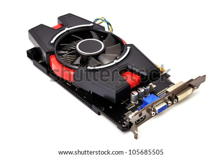 Computer graphic card on white background - stock photo