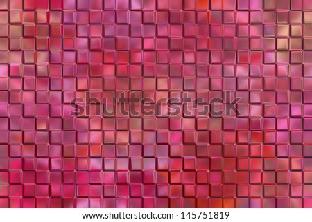 Computer graphic design abstract background of polish pink emboss square blocks