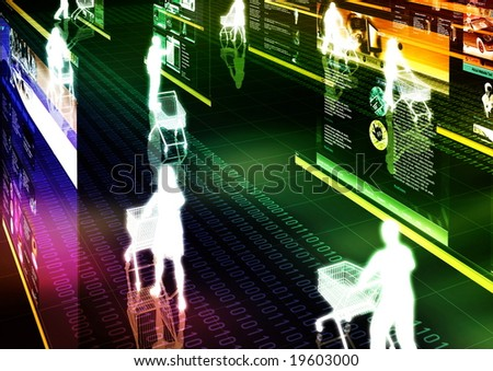 Computer graphic illustration about internet shopping in virtual world. - stock photo