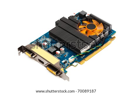 computer graphics card on a white background - stock photo
