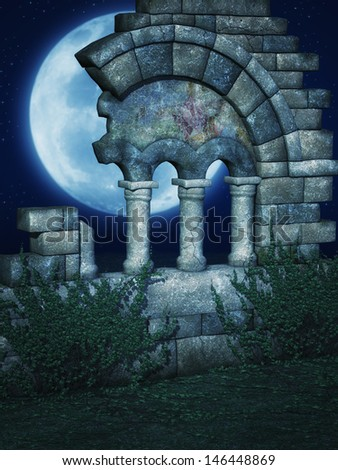 Computer graphics Fantasy scene with a Ruined wall with ivy under a moonlit sky