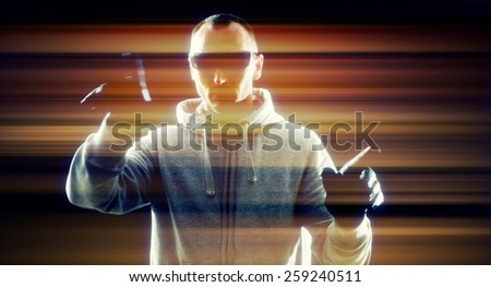 Computer hacker in the future - stock photo