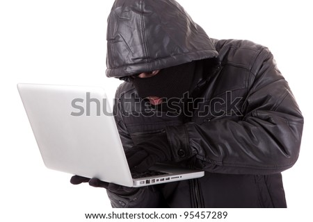 Computer Hacker, isolated over white background - stock photo