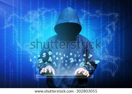 Computer hacker silhouette of hooded man with binary data and network security terms - stock photo