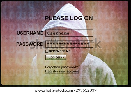 Computer hacker silhouette of hooded man with internet login screen concept for security, phishing and hacking network account username and password - stock photo