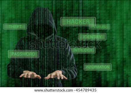 Computer hackerpreparing for hack your information.Cyber crime thief.