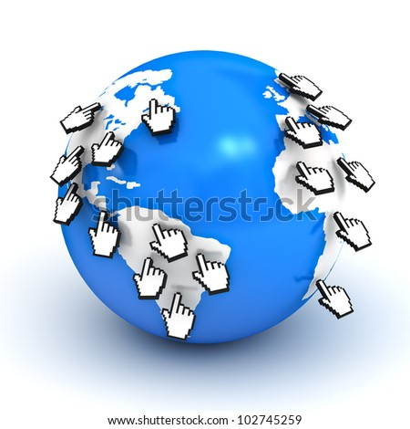 Computer hand cursors on globe on white background