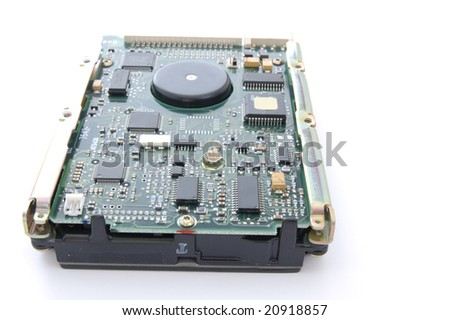 Computer hard disk drive circuit board isolated on a white background