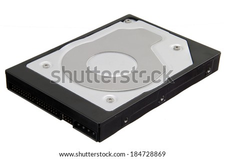 Computer hard disk drive isolated on white background with clipping path - stock photo