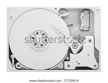 Computer hard disk with clipping path - stock photo
