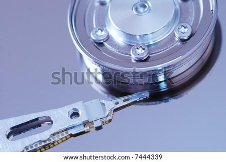 Computer Hard Drive close up.  Toned. - stock photo
