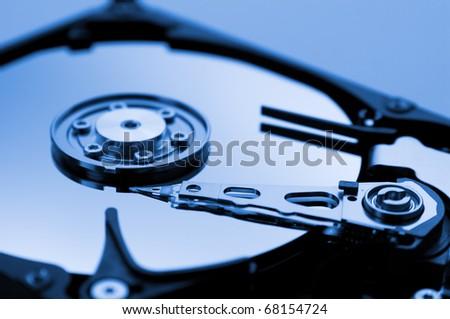 Computer hard drive in blue tone - stock photo