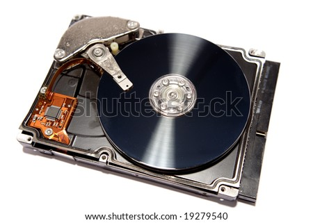 Computer hard-drive on white background