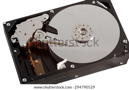 Computer Hard Drive Opened Up on White Background
