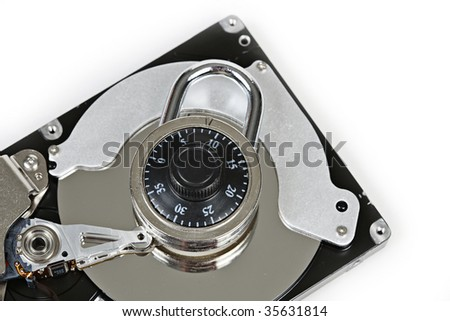 Computer Hard Drive with lock Taken Closeup - stock photo