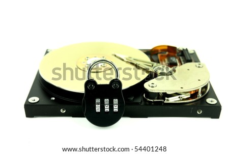 computer harddisk and heads with lock - stock photo