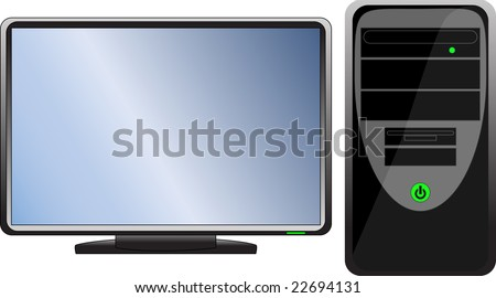 Computer hardware  Black icon (computer with monitor) - stock photo