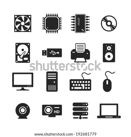 Computer Hardware Icons. PC Components. Raster version - stock photo