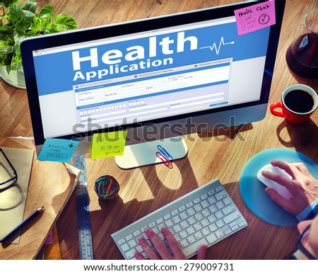 Computer Health Insurance Digital Application Form Concept - stock photo