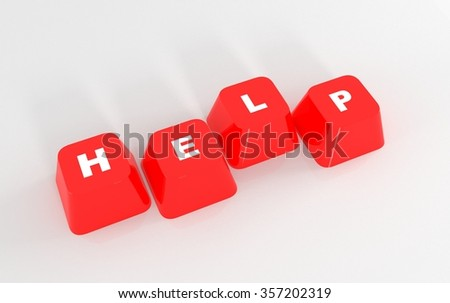Computer Help keyboard keys on isolated white background