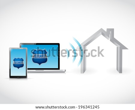 computer home security software illustration design over a white backgroundcomputer home security software illustration - stock photo