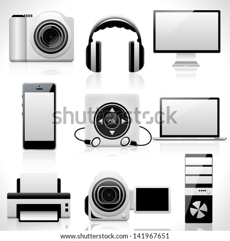 Computer icons. Raster version - stock photo