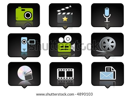 computer icons set  over the black background - digitaly generated - stock photo
