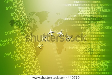 Computer illustration depicting world travel.
