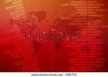 Computer illustration depicting world travel. - stock photo