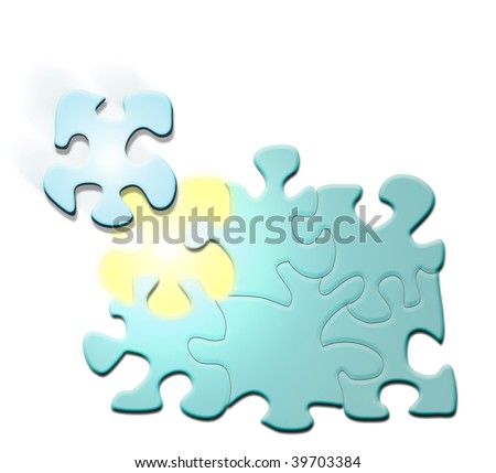 computer illustration of a puzzle with a piece coming into its place. This illustration is a business concept for unity, teamwork, mission completion.