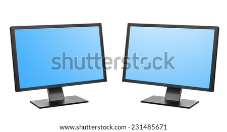 computer in a bright office. Isolated on white background - stock photo