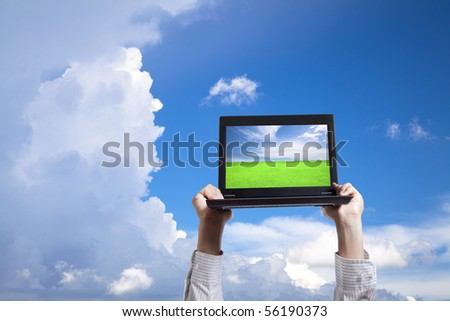 computer in cloud - stock photo