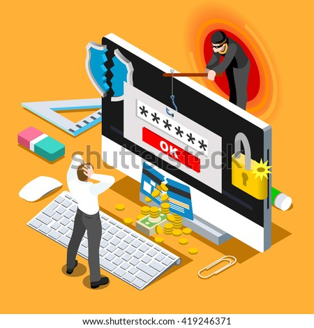 Computer infection infographic 3D flat isometric people design concept. Hacker spam phishing attack risk threats for computer systems. Spam phishing attack risk threats computer infection Illustration - stock photo