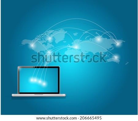 computer international technology connection illustration design over a white background - stock photo