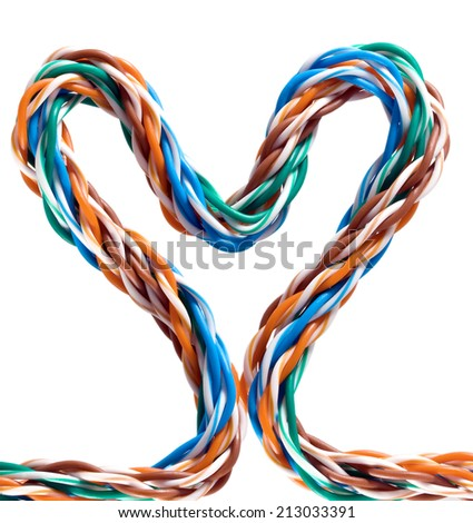 computer internet cable form heart isolated - stock photo