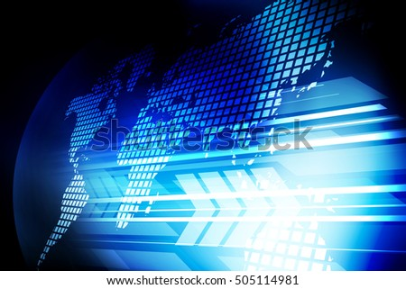 Computer internet network digital communication. Abstract technology world map information concept background.