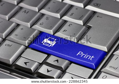 Computer key blue - Print with printer symbol - stock photo