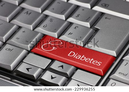 Computer key - Diabetes with stethoscope - stock photo