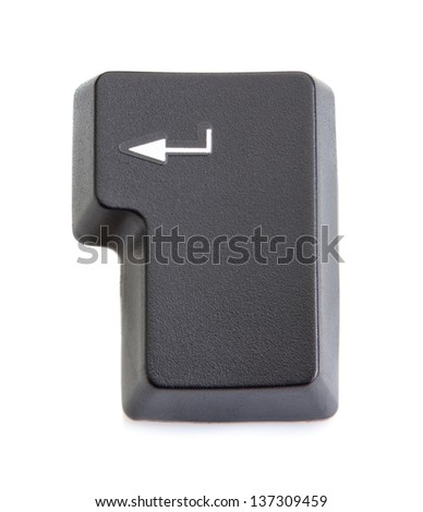 Computer key enter from the keyboard. On a white background. - stock photo