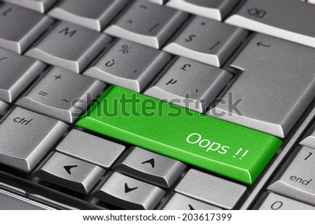 Computer key green - Oops! - stock photo