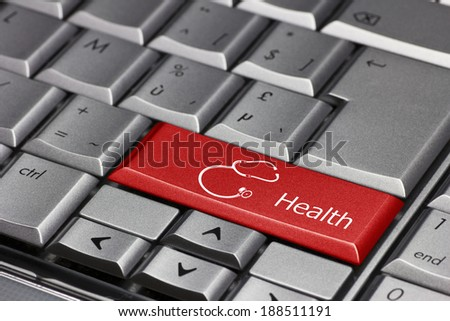 Computer Key - Health with Stethoscope - stock photo