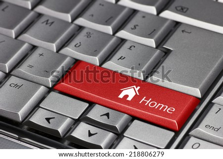 Computer key - Home with house symbol - stock photo