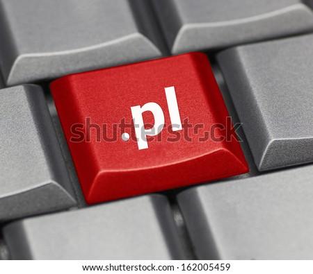 Computer key - Internet suffix of Poland - stock photo