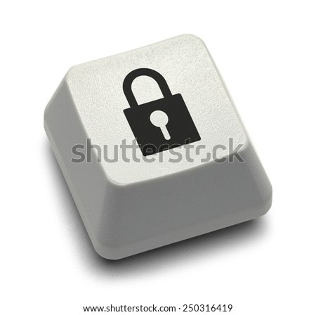 Computer Key Lock Button Isolated on White Background. - stock photo